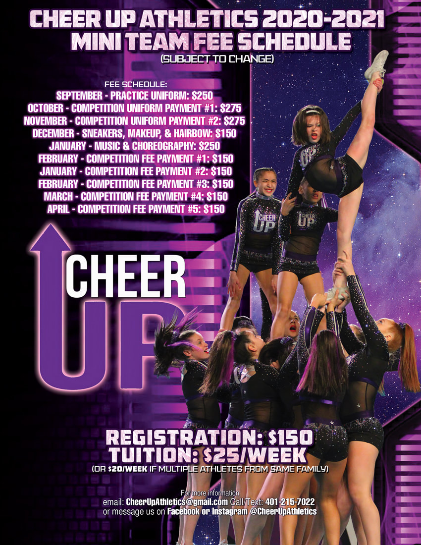Cheer UP Mini Team Full Year Fee Schedule Flyer Design Rhode Island Cheer Squad designs with 11 person cheerleading team