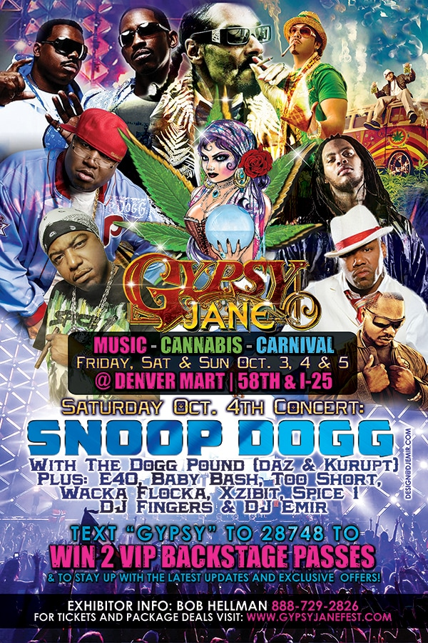 Gypsy Jane Cannabis Festival and Concert Original Flyer design featuring Snoop Dogg The Dogg Pound, E40, Baby Bash, Wacka Flocka, Xzibit, Spice 1, DJ Fingers, DJ Emir and more