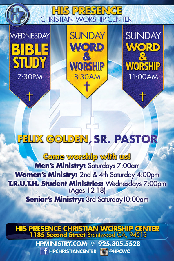 His Presence Christian Worship Center Weekly Mass Schedule Flyer design Back