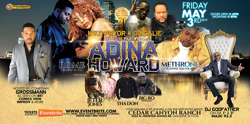 Kiko Pryor And DJ Calie Release Party Eventbrite and Facebook Banner Flyer Design Featuring Adina Howard, Rome, Methrone, Comedian Grossman, DJ Godfather, Jinda, Jeter Jones, Tha Don, Big Ro at Cedar Canyon Ranch Texas