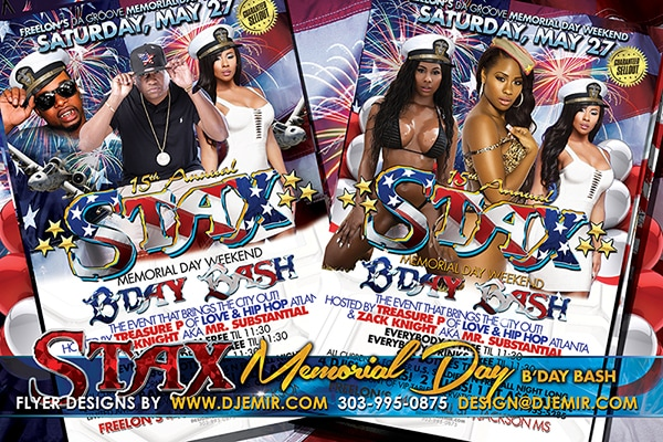 Stax Memorial Day Weekend Red White And Blue Birthday Flyer