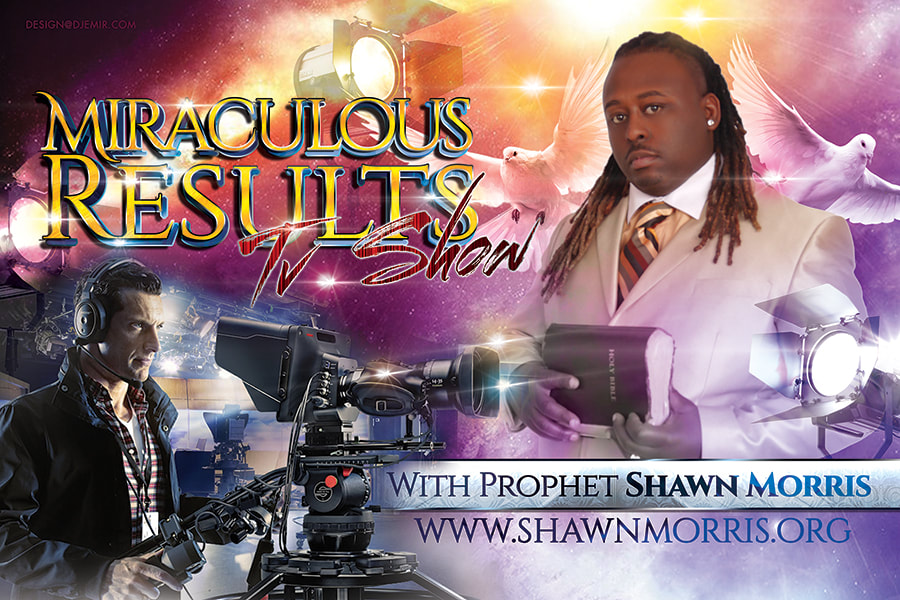 Miraculous Results TV Show with Prophet Shawn Morris Horizontal Flyer design and banner design with stars, tv cameras, doves and lights