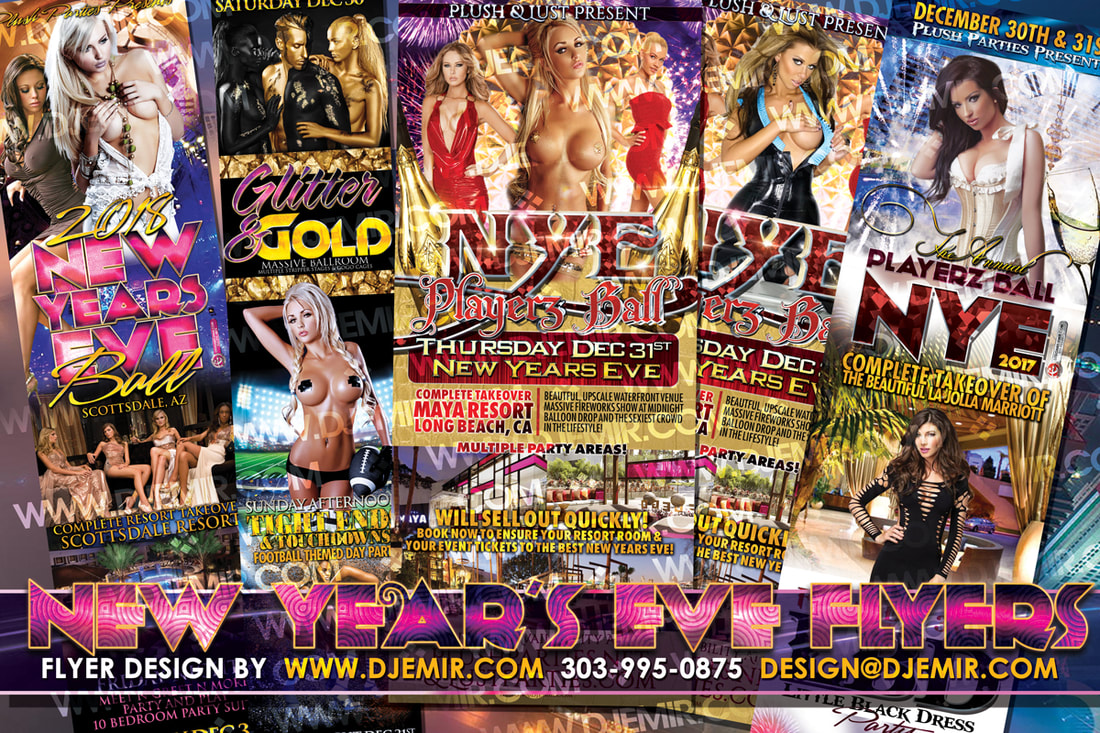 Annual New Years Eve Playerz Ball Flyer Designs for the sexy Lifestyle parties with various themed events throughout the entire weekend leading up to New Year's Eve. The Flyers feature Sexy Ladies in Body Paint, Sexy dresses, glitter, latex and everything that sets these parties as some of the sexiest New Year's Eve Parties every year.