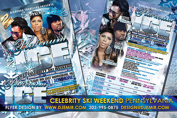 Platinum Ice Celebrity Ski Weekend and Concert event flyer design Pennsylvania featuring 2Chainz, Sommore, and Wale