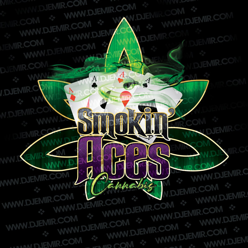 Smokin Aces Cannabis Dispensary Logo design featuring 4 Aces Playing Cards Abstract Green with Gold Accents Marijuana Leaf, Green Smoke and Black and Purple Logo Lettering with Gold trim accent