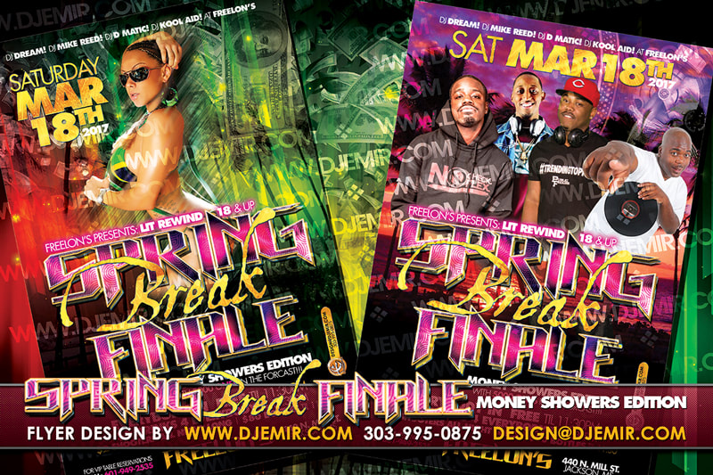Spring Break Finale' Flyer Design With Palm Trees, beaches and Sunsets Girl in Jamaican Bikini DJs and Music Artists. DJ Dream DJ Mike Reed DJ Kool Aid DJ D Matic DJ Emir Designs