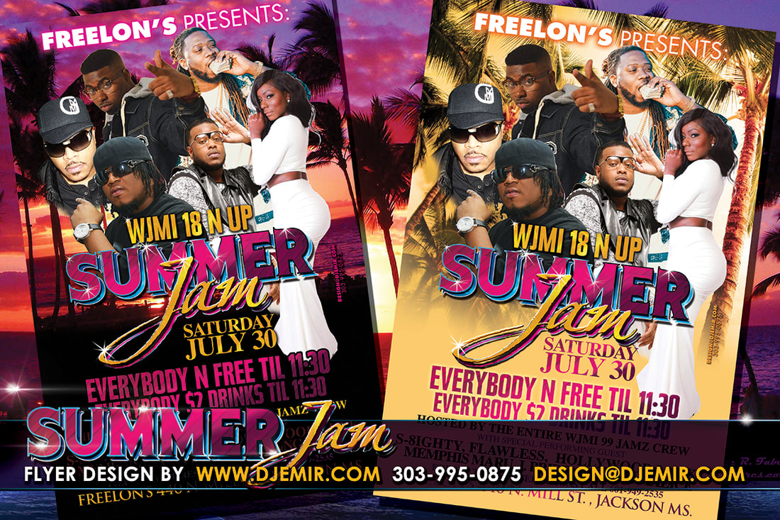 WJMI Radio Station Summer Jam Concert Flyer design with Palm Trees, Sunset and various Music Artists and DJs