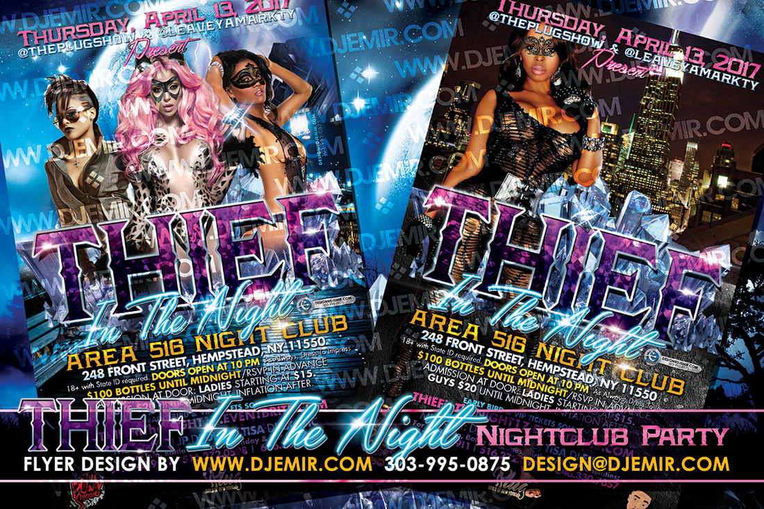 Thief In The Night Cat Burglar Themed Masquerade Costume and Lingerie Party Flyer design New York City sexy women in masks and cat burglar outfits Diamonds jewelry empire state building area 516 NY
