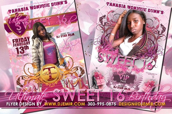 Tanasia Monique Dunn's Ultimate Pink Carpet Sweet Sixteen Birthday Party Event Flyer Design