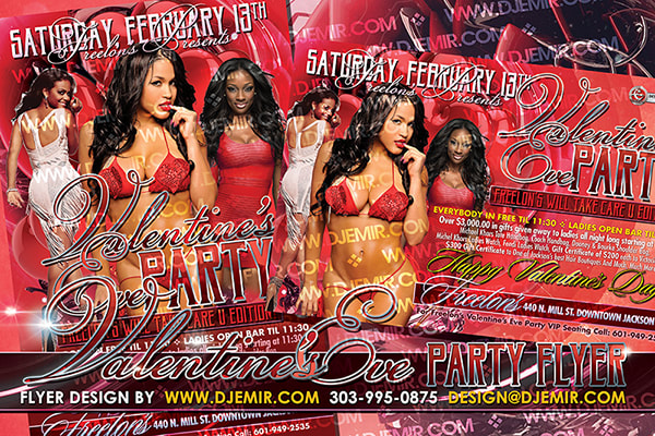 Valentine's Day Eve Flyer design Freelon's Jackson MS six sexy black women in Red and white outfits and bikinis