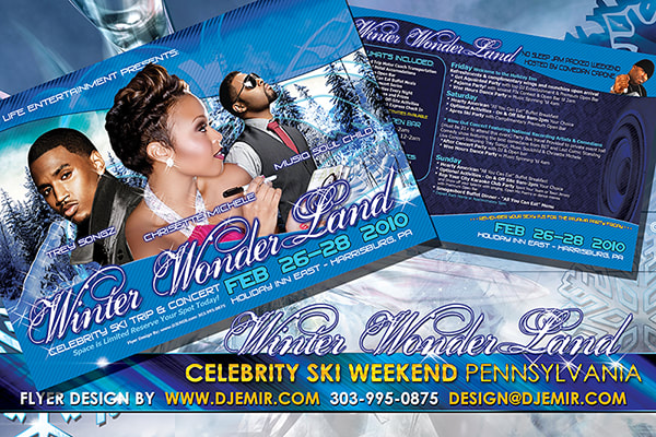 Winter Wonderland Celebrity Ski Weekend getaway and concert flyer design featuring Trey Songz, Chrisette Michele, and Musiq Soul Child