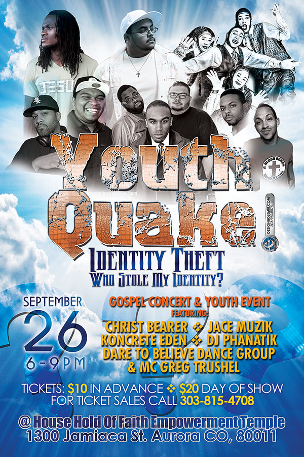 Youth Quake Identity Theft Church Seminar and Concert Flyer design Denver Colorado